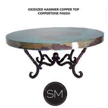 "Hammer Copper Table Ultramodern Round Oxidized Top Coppertone Twist Legs - 38""Rd / Dark Rust Brown / Natural Hammer Copper"