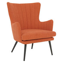 Jenson Accent Chair With Orange Fabric and Grey Legs