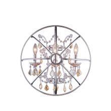 Geneva 3 light Polished nickel Wall Sconce Golden Teak (Smoky) Royal Cut crystal