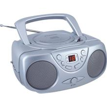 Portable CD Boom Box with AM/FM Radio (Silver)