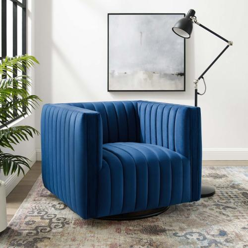 Modway - Conjure Channel Tufted Performance Velvet Swivel Armchair in Navy