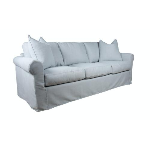 Roll Arm, Standard Depth, Three Cushion, Queen Slipcover Sofa.