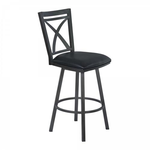 """Armen Living Nova 26"""" Counter Height Metal Swivel Barstool in Ford Black Pu and Mineral Finish"""