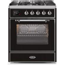 Majestic II 30 Inch Dual Fuel Natural Gas Freestanding Range in Glossy Black with Chrome Trim