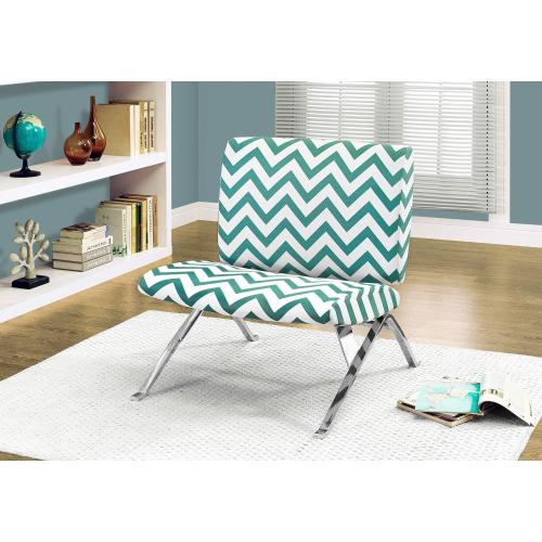 """Gallery - ACCENT CHAIR - TEAL """" CHEVRON """" FABRIC / CHROME METAL"""