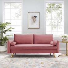Revive Performance Velvet Sofa in Dusty Rose