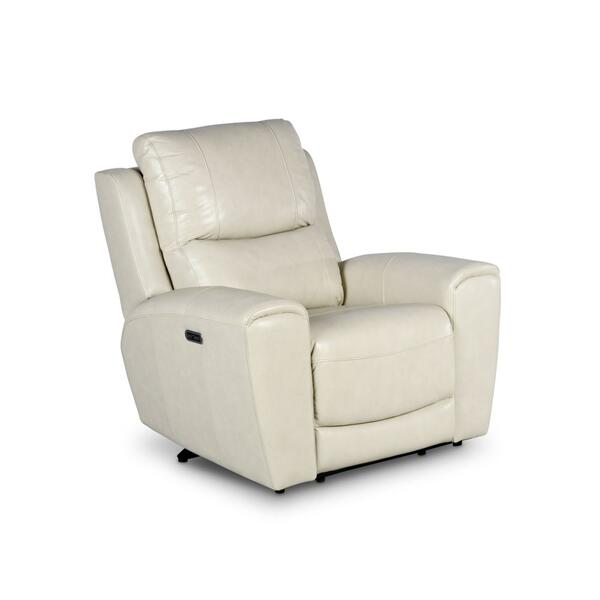Laurel Dual -Power Leather Recliner Chair, Ivory