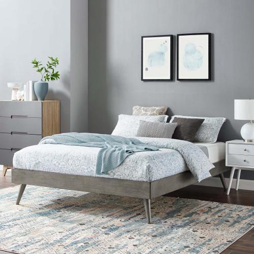 Modway - Margo Full Wood Platform Bed Frame in Gray