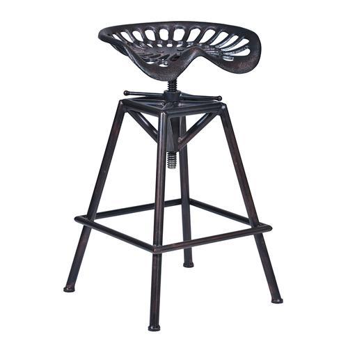 Armen Living Osbourne Adjustable Barstool in Industrial Copper finish and seat