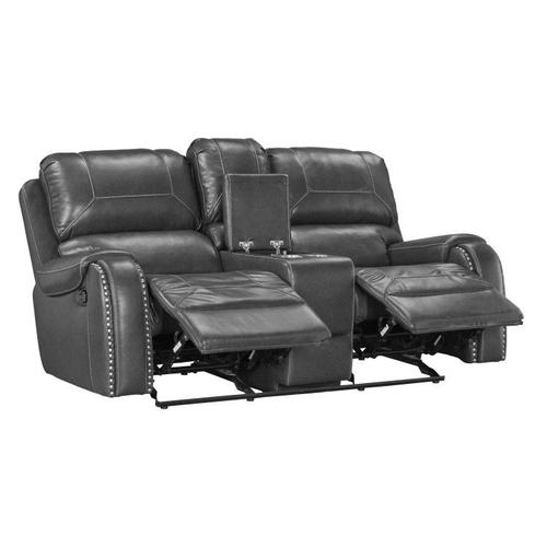 Winslow Power Reclining Dual Glider Loveseat with Console and Power Strip, Grey