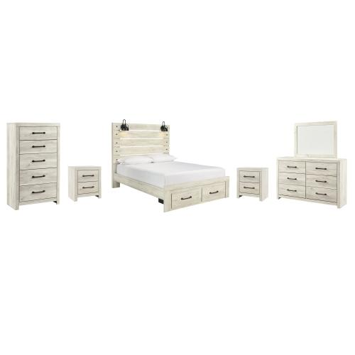 Ashley - Queen Panel Bed With 2 Storage Drawers With Mirrored Dresser, Chest and 2 Nightstands