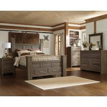 California King Poster Bed With Mirrored Dresser and Chest