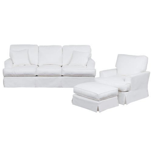 Ariana Slipcovered Living Room Set - Performance White (3 Piece)