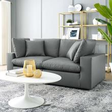 See Details - Commix Down Filled Overstuffed Vegan Leather Loveseat in Gray