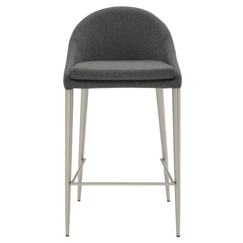 Zane KD Fabric Counter Stool Brushed Stainless Legs, Night Shade