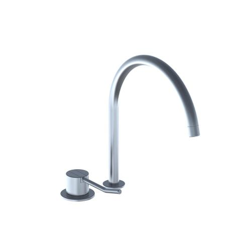 One-handle mixer with long lever, ceramic disc technology for table mounting 500, with swivel spout 090H and water saving aerator - Dark grey