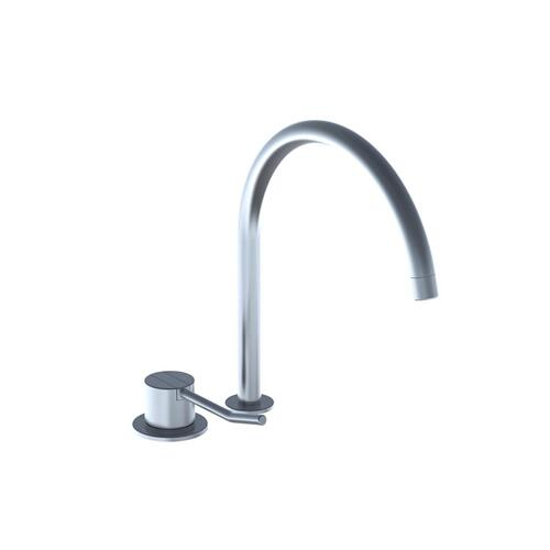 One-handle mixer with long lever, ceramic disc technology for table mounting 500, with swivel spout 090H and water saving aerator - Brushed stainless steel
