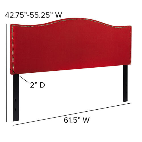 Lexington Upholstered Queen Size Headboard with Accent Nail Trim in Red Fabric
