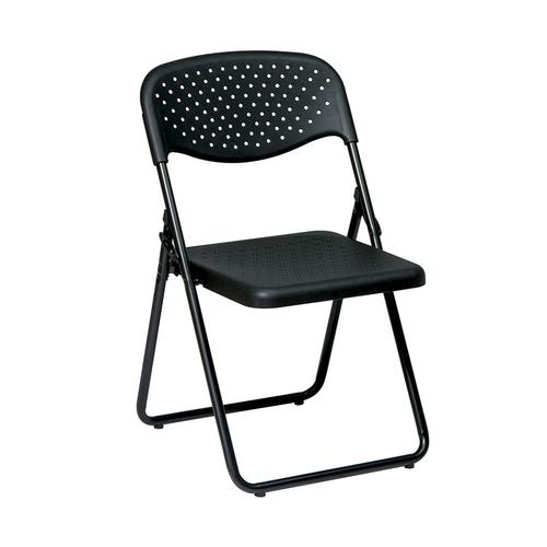 Office Star - Folding Chair With Plastic Seat and Back