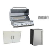 View Product - 4 Piece 4 Burner BBQ Grill, Door, Fridge, Vent