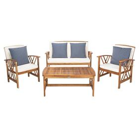 Fontana 4 PC Outdoor Set - Natural / Beige / Navy & White