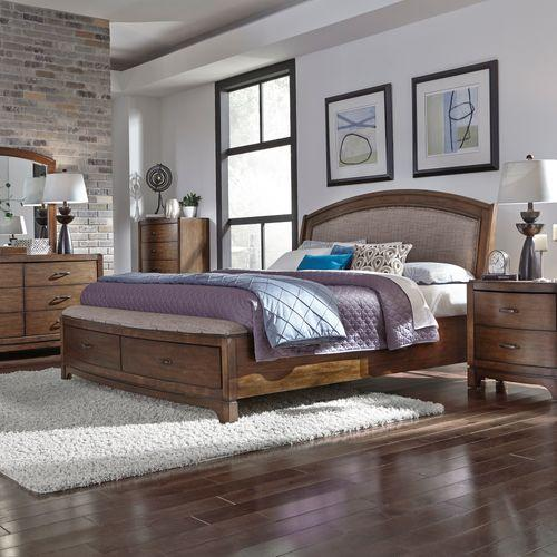 King Storage Bed, Dresser & Mirror, Chest, Night Stand