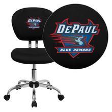 DePaul University Blue Demons Embroidered Black Mesh Task Chair with Chrome Base