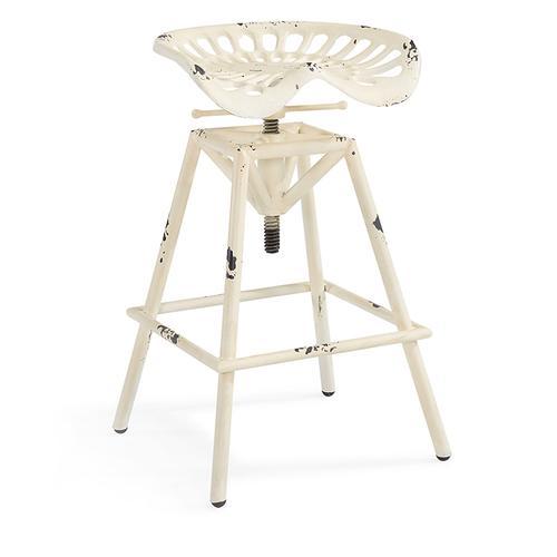 Armen Living - Armen Living Osbourne Adjustable Industrial Metal Barstool in Antique White finish