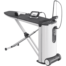 Steam ironing system with display and steamer for perfect ironing results and convenience.