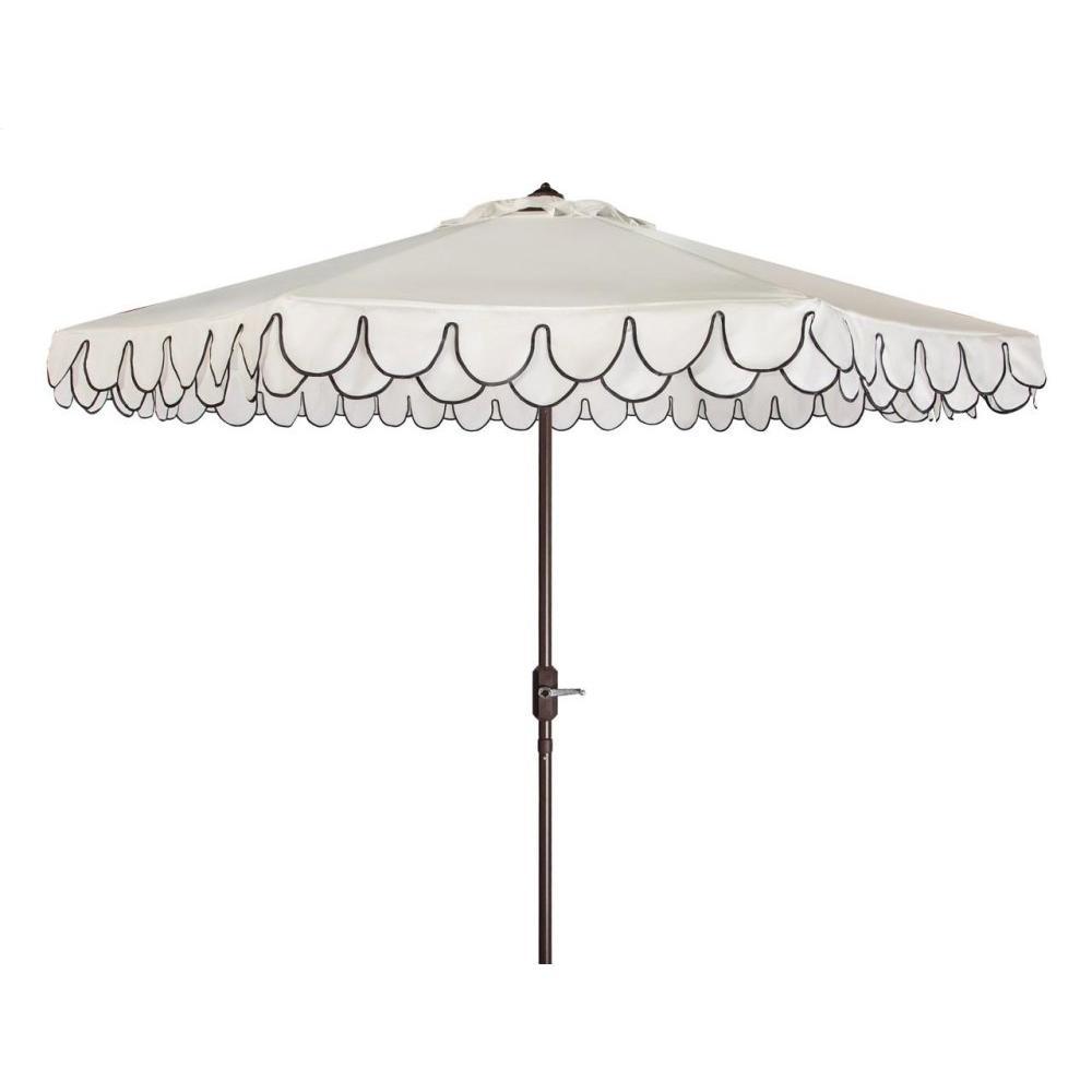 Elegant Valance 9ft Auto Tilt Umbrella - White / Black