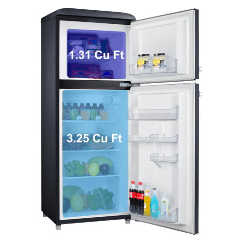 Galanz 4.6 Cu Ft Retro Top Mount Refrigerator in Vinyl Black