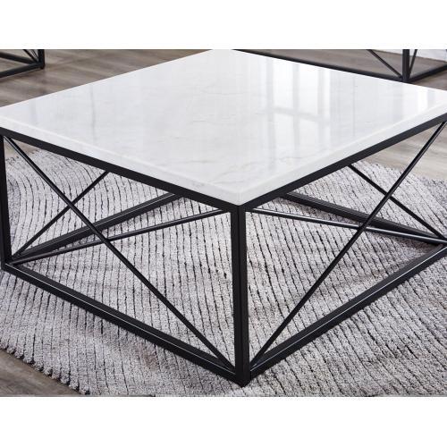 Steve Silver Co. - Skyler White Marble Top Square Cocktail Table Black 36x36x18