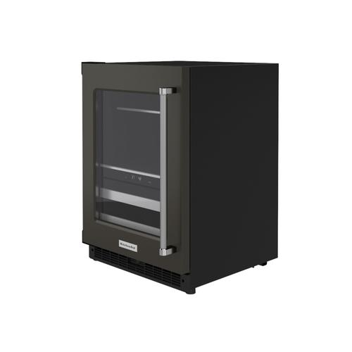 """KitchenAid Canada - 24"""" Beverage Center with Glass Door and Metal-Front Racks - Black Stainless Steel with PrintShield™ Finish"""