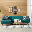 Engage Left-Facing Sectional Sofa in Teal Product Image