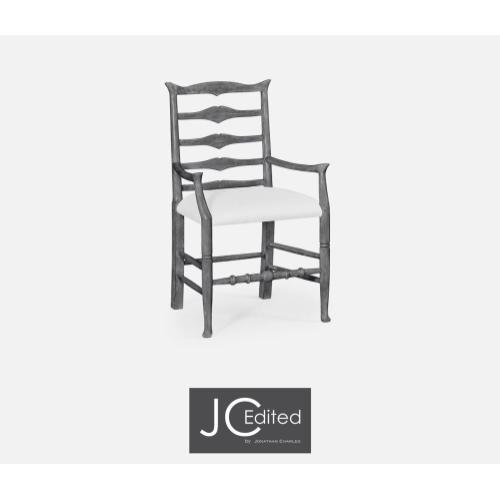 Antique dark grey ladder back armchair (COM)