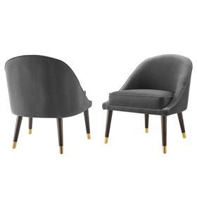 Avalon Velvet Accent Chair - Charcoal
