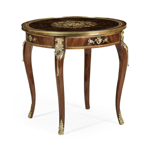 Mahogany lamp table with mother of pearl & marquetry