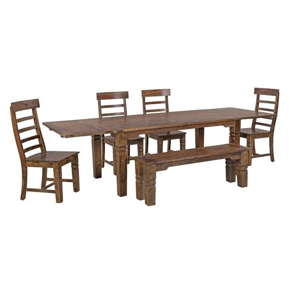 See Details - Tahoe Harvest Dining Table With Extensions, Chairs & Bench, SBA-9039H