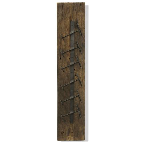 RUSTIC WINE RACK  8in w. X 39in ht. X 5in d.  Six Bottle Wall Hanging Made From Reclaimed Wood in