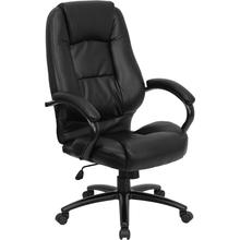 High Back Black Leather Executive Swivel Office Chair with Metal Base and Padded Arms
