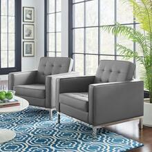Loft Tufted Upholstered Faux Leather Armchair Set of 2 in Silver Gray