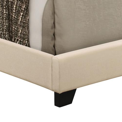 Upholstered Queen Bed with Nailhead Trim in Cream