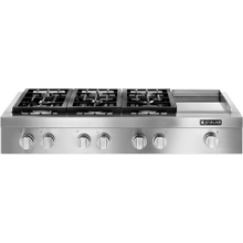 "Pro-Style® 48"" Gas Rangetop with Griddle, Stainless Steel"