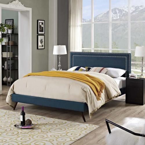 Virginia Queen Fabric Platform Bed with Round Splayed Legs in Azure