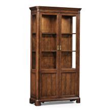 Walnut glazed display cabinet with pediment