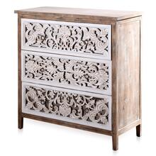WHITE WASHED  36in w X 38in ht X 14in d  3 Drawer Chest With Embossed and Mirror Drawer Fronts
