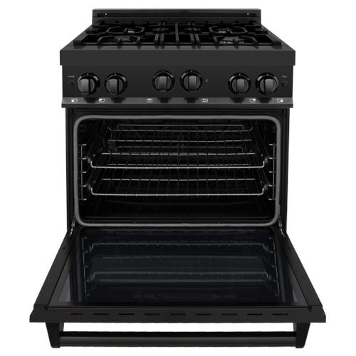 """Zline Kitchen and Bath - ZLINE 30"""" 4.0 cu. ft. Range with Gas Stove and Gas Oven in Black Stainless Steel (RGB-30) [Color: Black Stainless Steel]"""