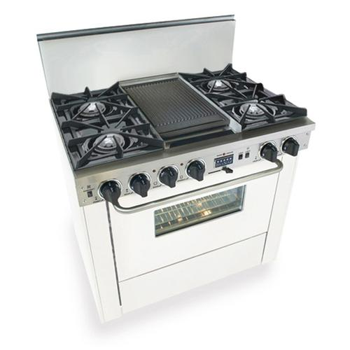 "36"" Dual Fuel, Convect, Self-Clean, Open Burners, White"
