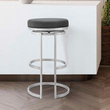 "Vander 26"" Gray Faux Leather and Brushed Stainless Steel Swivel Bar Stool"