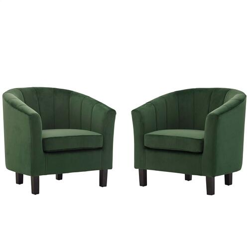 Prospect Channel Tufted Performance Velvet Armchair Set of 2 in Emerald